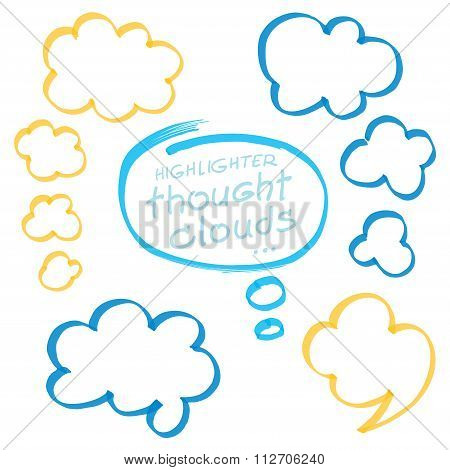 Highlighter Thought Clouds Bubbles Design Elements
