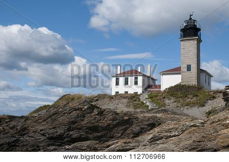 Beavertail Lighthouse On Unique Rock Formations