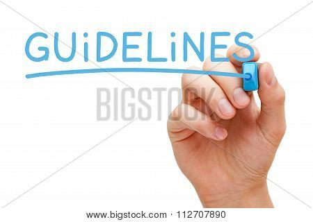 Hand writing Guidelines with blue marker on transparent wipe board. poster