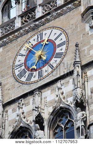 The Clock On Town Hall At Marienplatz In Munich, Germany