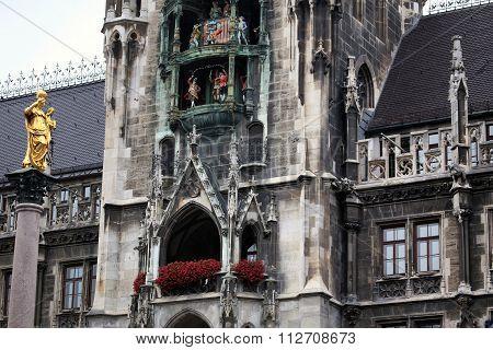 The Mariensaule, A Marian Column And Munich City Hall On The Marienplatz In Munich, German