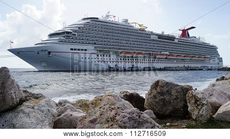 Carnival Breeze docked in Willemstad, Curacao
