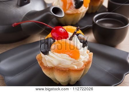 Basket Of Dough With Cream And Cherry