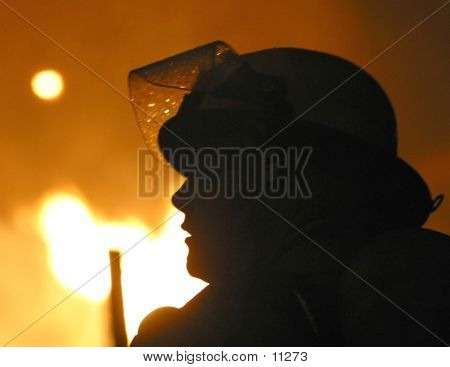 Silhouette Of Firefighter