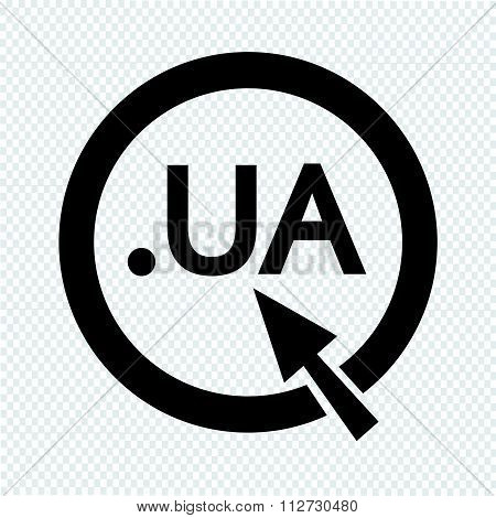 Ukraine Domain Dot Ua Sign Icon Illustration