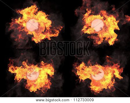four versions. Sphere in fire