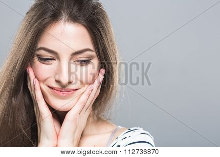 Beautiful Young Woman Portrait Cute Tender Pure Smiling Touching Her Cheeks By Fingers Attractive Gr