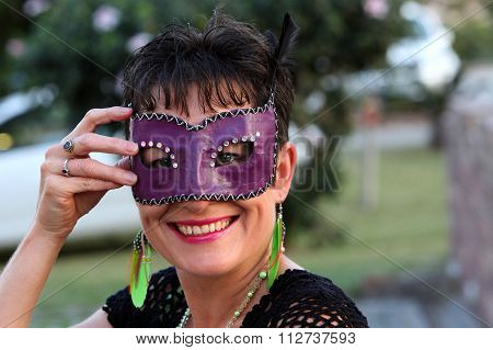 Smiling Healthy Beautiful Mother With Mask