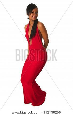 Dancing Black African Lady In Red Dress