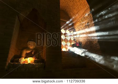 Bagan, Myanmar - Feb 20: A Little Monk Pray At Temple On February 20, 2015 In Bagan. Buddhism Is Pre