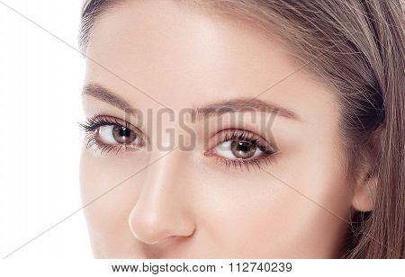 Beautiful Woman Eyes And Nose Studio On White Background