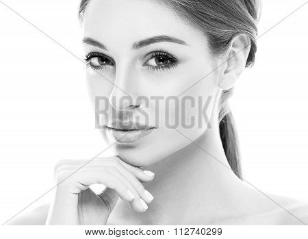 Beautiful Happy Young Woman Tanned Portrait Face With Sexy Lips Black And White