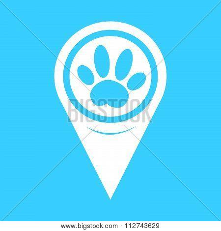 Map Pin Pointer Dog Paw Icon