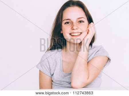 Beautiful Young Woman Cute Tender Pure Smiling