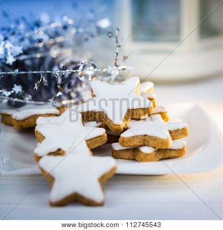 Christmas cake,star form with white glaze