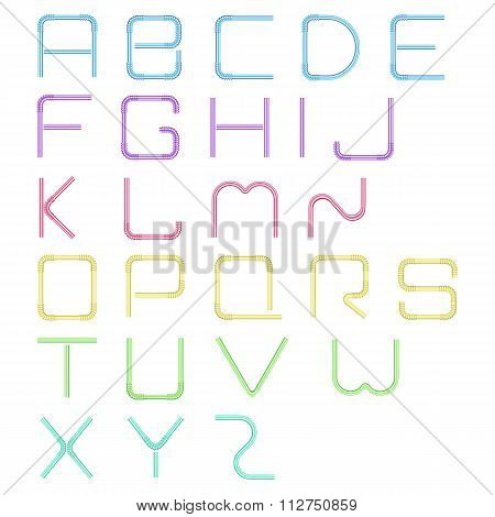 Stock Vector Font plastic tube