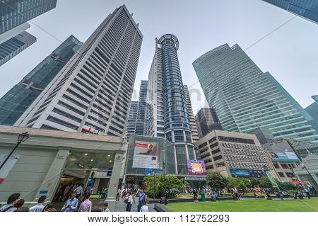 Singapore, Singapore - Circa September 2015: Skyscraper Towers At Raffles Place In Singapore Financi