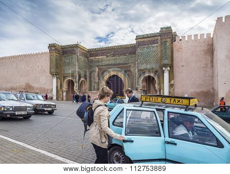 The Bab Mansour Gate In Mequinez, Morocco.