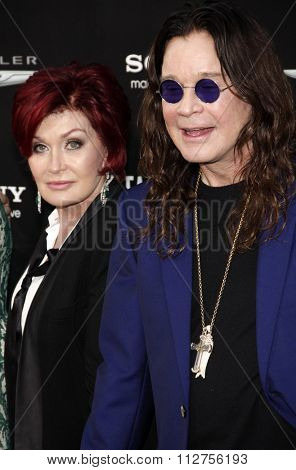 LOS ANGELES, CALIFORNIA - August 1, 2012. Ozzy Osbourne and Sharon Osbourne at the Los Angeles premiere of