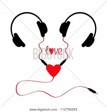 Two headphones. Earphones couple Audio splitter adapter heart. Red cord. Word love. White background. Isolated. Flat design. Vector illustration poster