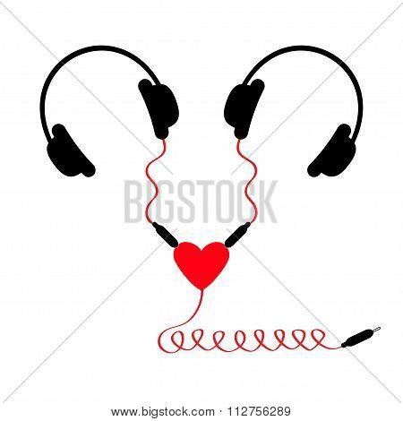 Two Headphones. Earphones Couple Audio Splitter Adapter Heart. Red Spiral Cord. Love Card. White Bac