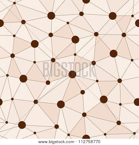 Atomic Background With Interconnected Brown Dots