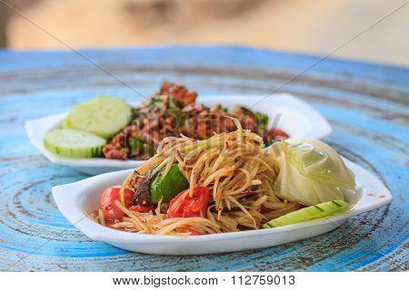 Papaya Salad With Thai Cuisine Spicy Pork Salad
