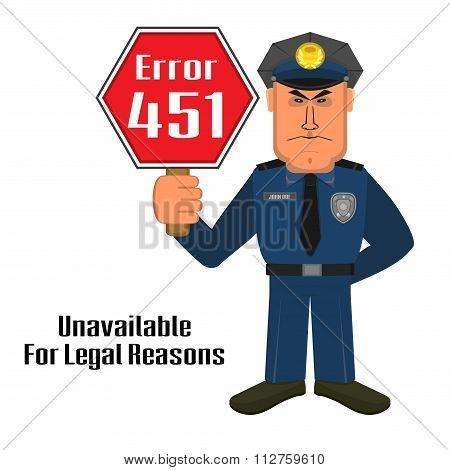 Error 451 Concept With Policeman