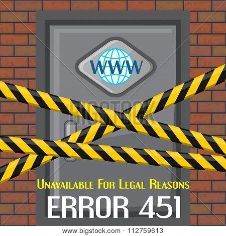 Error 451 Concept With Brick Wall And Door