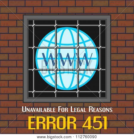 Error 451 Concept With Window Of Prison