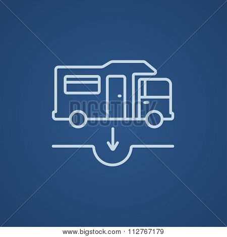 Motorhome and sump line icon for web, mobile and infographics. Vector light blue icon isolated on blue background.