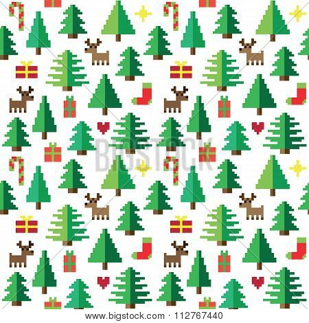 Colorful Pixel Pattern with Christmas Elements in forest
