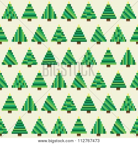 Green pixel Christmas trees pattern