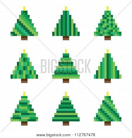 Green pixel Christmas trees