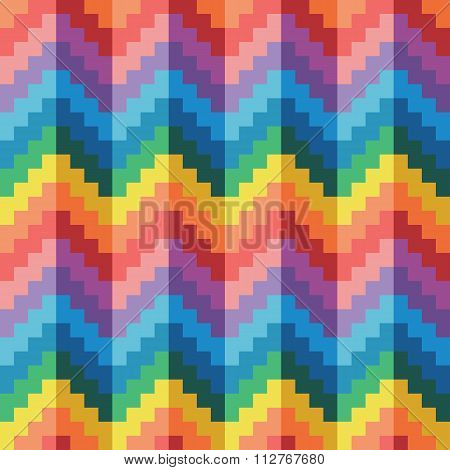 Seamless abstract rainbow zigzag pixel pattern in vector