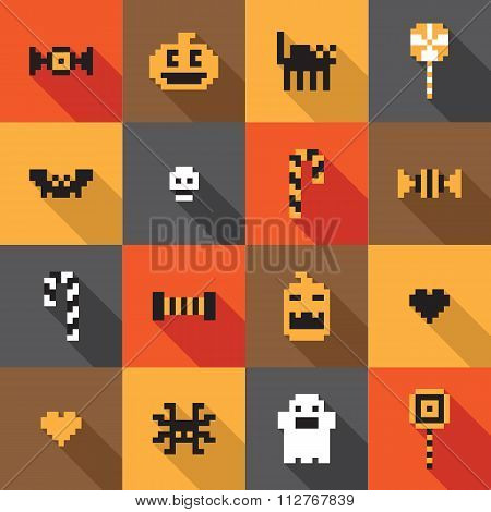 Flat design Halloween festive seamless pixel pattern in vector