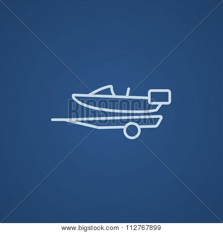 Boat on a trailer for transportation line icon for web, mobile and infographics. Vector light blue icon isolated on blue background. poster