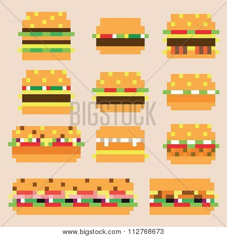 Collection of retro pixel hamburgers in vector