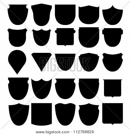 Vector illustration set shields black
