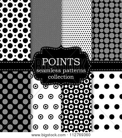 Vector illustration set of seamless patterns