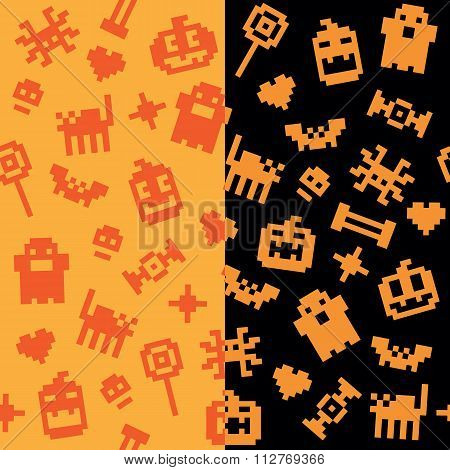 Halloween festive seamless pixel patterns in vector