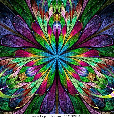 Multicolored Symmetrical Fractal Flower In Stained-glass Window Style. You Can Use It For Invitation