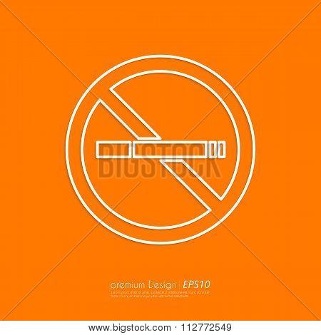 Stock Vector Linear icon no smoking