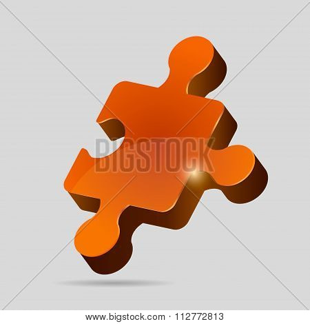 Orange 3D puzzle piece