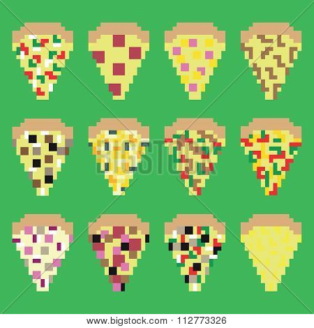 Retro pixel pizza slices in vector