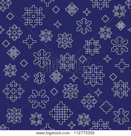 Blue white winter snowflake seamless vector pattern