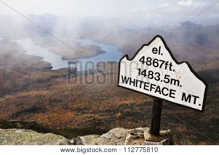 Lake Placid view from top of Whiteface Mountain in fall, Adirondack Mountain, New York State, USA