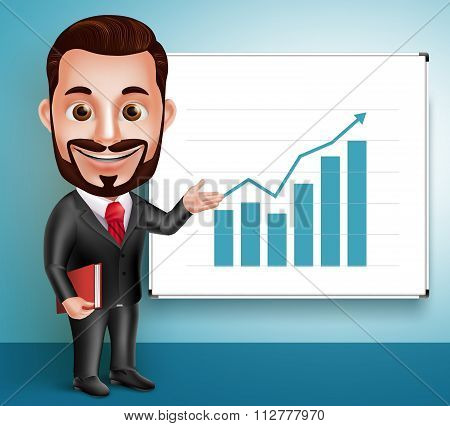 Business Man Vector Character Happy Speaking and Showing Chart Presentation
