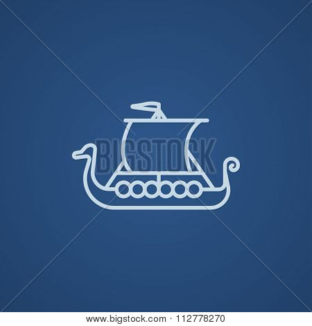 Old ship line icon for web, mobile and infographics. Vector light blue icon isolated on blue background.
