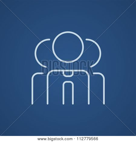 Group of businessmen line icon for web, mobile and infographics. Vector light blue icon isolated on blue background.